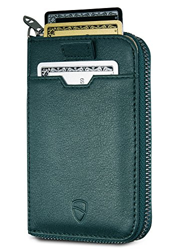 Vaultskin NOTTING HILL Slim Zip Wallet with RFID Protection for Cards Cash Coins (Alpine Green) (Fb Metal Finishes Pull)