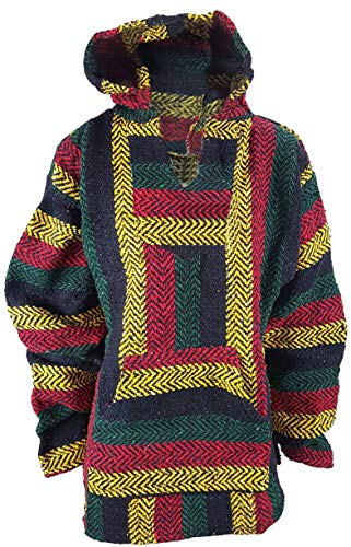 Baja Shirt - Rasta Multi Colored - Woven Hoodie - Soft Brushed Inside - Unisex Pullover ()