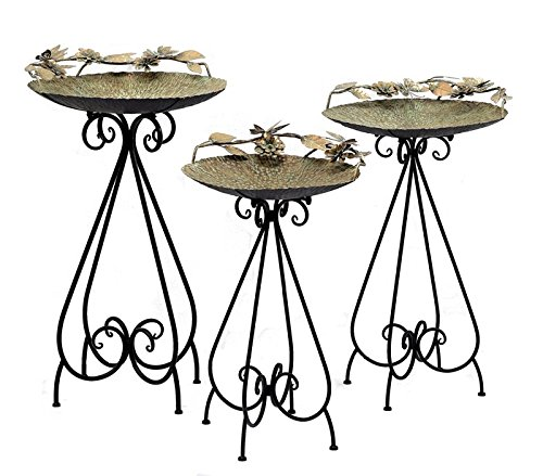 Zaer Ltd. Set of 3 Aged Copper Finish Parisian Birdbaths with Leaves and Butterflies or Birds on Edge (Set/3 with Butterflies)