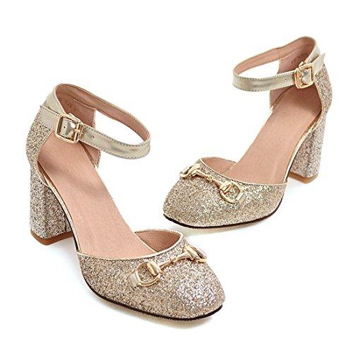 YE Damen Ankle Strap Pumps Glitzer Blockabsatz High Heels mit Pailletten Bequem Elegant Schuhe Gold