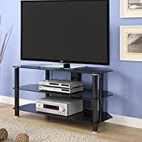Innovex TC280G29 Concord 42 inch tempered glass easy to assemble TV Stand for TV's up to 42 inches, Black