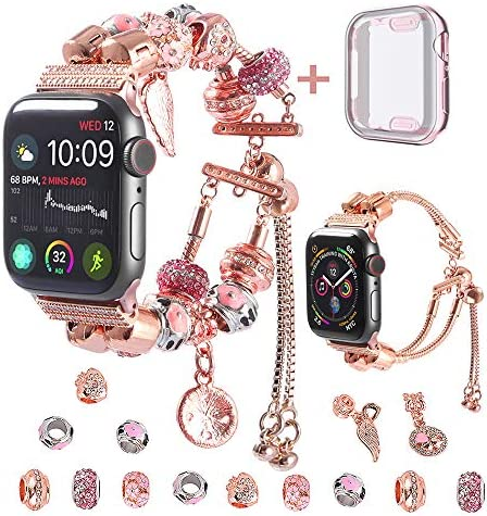 KoudHug compatible for Apple watch strap and case 38 mm 40 mm 42 mm 44 mm for Series 5 4 3 2 1, switchable 2 in 1 DIY charm bracelet iWatch replacement bands with beads for ladies / girls (rose gold, 44 mm)
