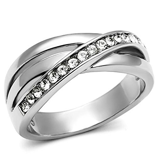 Women's Round Cut AAA CZ Stainless Steel Anniversary Fashion Ring Band Size 5-10