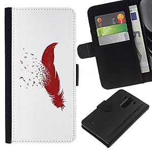 All Phone Most Case / Oferta Especial Cáscara Funda de cuero Monedero Cubierta de proteccion Caso / Wallet Case for LG G3 // MINIMALIST FEATHER & BIRDS