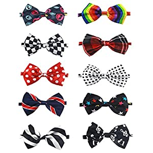 Hraindrop 10pcs Pet Dog Bow Ties - Exquisite Handcrafted New Adorable Pet Bowties Collar For Dog, Adjustable Dog Neckties For Girl/Boy Pet Grooming Accessories