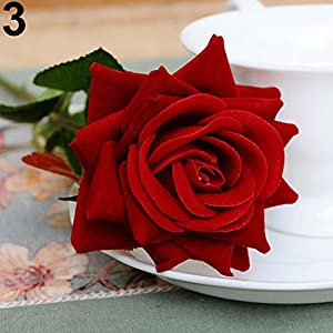 WskLinft 1 Pc Artificial Rose Fake Flowers Leaf Home Room Bridal Bouquet Wedding Decor - Red 82