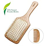 Nipoo Natural Wooden Paddle Detangling Hair Brush for Women, Men and Kids - Designed for All Hair Types - Wooden Comb...