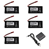 (5-Packs) 3.7V 1800mAh 20C Lipo Battery+ 1 USB Charger Spare Parts for MJX X400 X400W X800 X300C Sky Viper S670 V950hd V950str HS200W RC Racing Drone Car