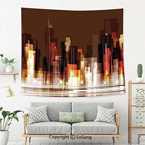 SoSung City Wall Tapestry,Abstract Urban Downtown Vibrant Silhouettes Buildings Panorama Artistic Modern,Bedroom Living Room Dorm Wall Hanging,60X50 Inches,Brown Multicolor