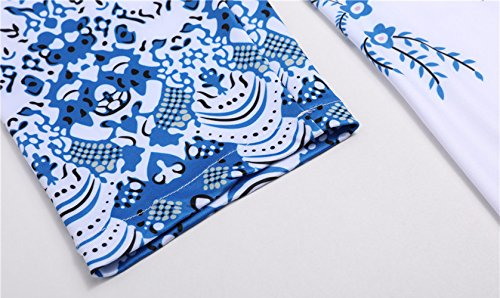Blouse 3 Fashion Casual Bouton Tunique Col Chemisiers Tops Hauts Femme 4 T Blanc Kilt Simple Manches Fashion avec Shirt Long Imprim Rond Jeune PRZyd7x