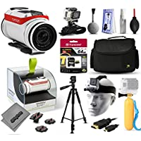 TomTom Bandit 4K Action Camera with 64GB Ultra Memory + Large Padded Case + 60 Pro Series Tripod + Headstrap Mount + Floaty Bobber + HDMI Cable + Wrist Glove + Cleaning Kit