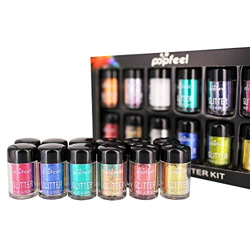 HailiCare 12 Colors Glitter Eyeshadow Kit - Shimmering Eyeshadow Metallic Eye Cosmetic Makeup Highlighters by HailiCare
