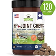 Glucosamine for Dogs - Dog Joint Supplement Chews, Glucosamine Chondroitin MSM + Turmeric - 120 Grain Free Dog Treats Made in USA Only - Hip and Joint Support for Dogs Arthritis Pain Relief, Dysplasia