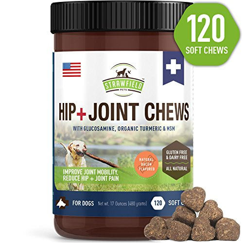 Glucosamine for Dogs - Dog Joint Supplement Chews, Glucosamine Chondroitin MSM + Turmeric - 120 Grain Free Dog Treats Made in USA Only - Hip and Joint Support for Dogs Arthritis Pain Relief, Dysplasia by Strawfield Pets