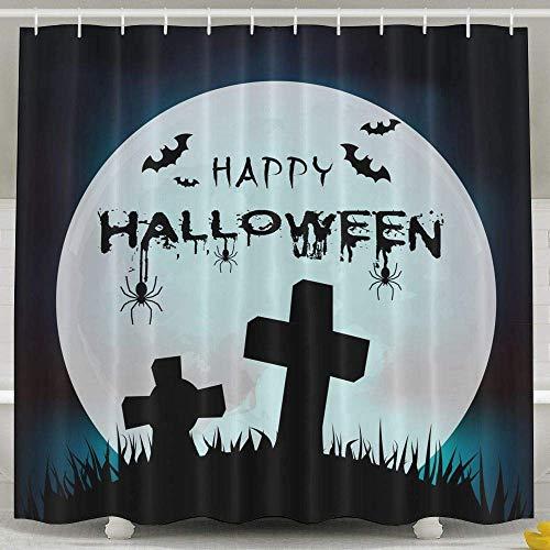 Fungaby Happy Halloween Grave Full Moon 6072 Inch Bathroom Shower Curtain Set Waterproof Bath Curtain Fabric Polyester for Bathroom Decoration,White,6072inch -