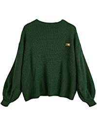 Women's Casual Loose Knitted Sweater Lantern Sleeve Crewneck Fashion Pullover Sweater Tops