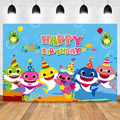 MMY 7x5ft Baby Shark Photography Backdrop Shark Family Baby Shark Happy Birthday Background Decoration Underwater World Baby Shower Cake Table Banner Supplies Photobooth Props]()