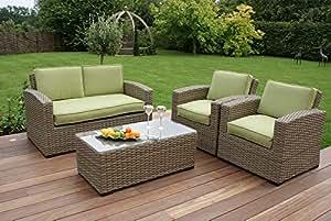 Aston ratán muebles de jardín sofá 2 plazas juego de verde los oídos