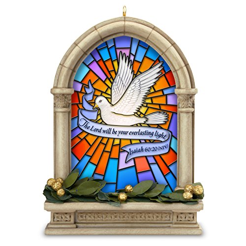 Hallmark Keepsake Christmas Ornament 2018 Year Dated Dove Church Bible, Everlasting Light Stained Glass Window,]()