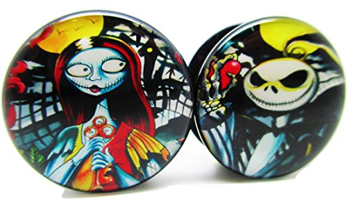 Jack & Sally Graffiti - Nightmare Before Christmas Ear Plugs - Acrylic Screw-On - 10 Sizes - Brand NewPair (00 Gauge (10mm))
