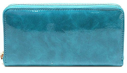 Blau Patent Damen Fashion Geldbörse