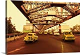 Canvas On Demand Premium Thick-Wrap Canvas Wall Art Print entitled Taxis on a bridge, Howrah Bridge, Kolkata, West Bengal, India