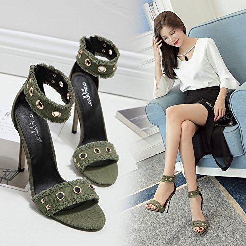 nueva green RUGAI dama Zapatos tacón y UE alto estadounidense y europeo sandalias para remache dama sandalias de AA0qg