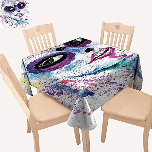 UHOO2018 Spillproof Fabric Tablecloth Halloween Lady Sugar Skull Up Creepy Dead Face Gothic Woman sy Blue Square/Rectangle Washable Polyester,23 x 23inch -