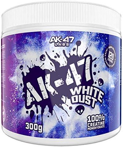 AK-47 Labs - WHITE DUST 100% Creatine Monohydrate Pure Pulver Frei von Zusätzen Optimal für den Muskelaufbau (Neutral - Natural) 300g