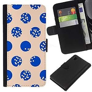 EJOY---La carpeta del tirón la caja de cuero de alta calidad de la PU Caso protector / Sony Xperia Z1 L39 / --Modelo de punto beige azul minimalista