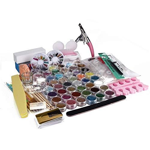 New 1 Set 48 Pots Acrylic Nail Art Finger Fake Pump Clipper Brush Set Kits Nail DIY Decoration for Lady -