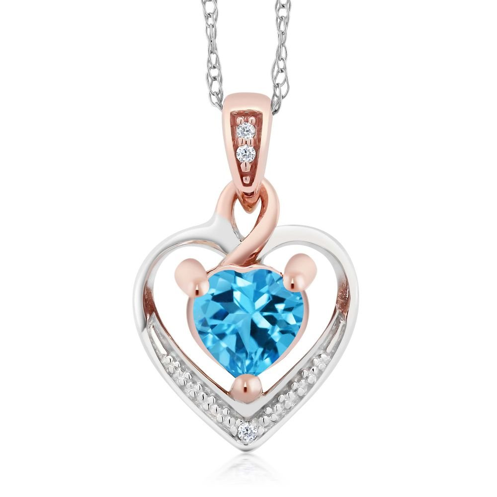 10K White and Rose Gold Swiss Blue Topaz and Diamond Heart Shape Pendant Necklace (0.56 cttw, With 18 inch Chain)