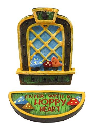 Magical Fairy Door Friendship Boy Fairy 2pc. Window & Doormat Set