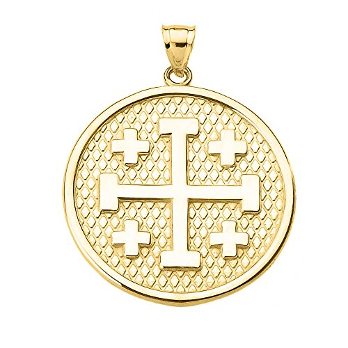 Jerusalem Gold Cross Pendant Jewelry - Engravable Jerusalem Cross Pendant in 14k Yellow Gold