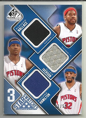 (2009-10 SP Game Used Basketball Rasheed Wallace-Allen Iverson-Richard Hamilton Game Used Card # 23/50)