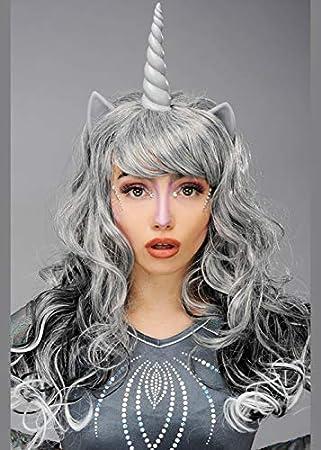 Peluca Gótica Unicornio Gótica para Mujer con Cuerno: Amazon.es ...