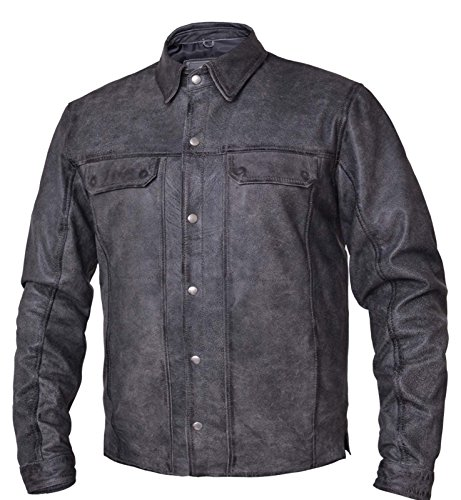 Unik Motorcycle - UNIK Mens Motorcycle Casual Distressed Grey Full Sleeve light weight Leather Shirt (3XL Regular)