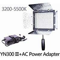 YONGNUO YN300 III 3200K-5500K with AC Power Adapter Kit ,On Camera Video Light Photographic Continuous Output Lighting