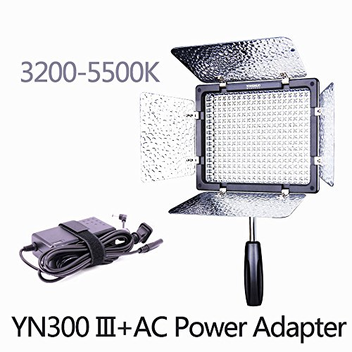 YONGNUO YN300 III 3200K-5500K with AC Power Adapter Kit,On Camera Video Light Photographic Continuous Output Lighting by YONGNUO