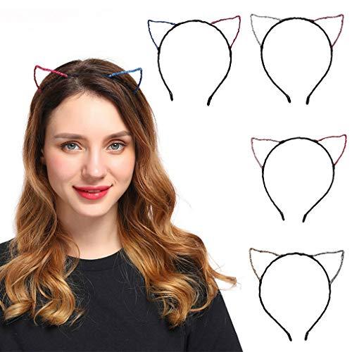 Sample9 - Womens Halloween Glitter Contrast Color Hair Hoop Cat Ears Ultra Thin Headband -