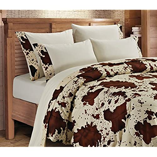 20 Lakes, Super Soft Microfiber 6 Piece Rodeo Cow Print Sheet U0026 Pillowcase  Set (Queen, Cream)