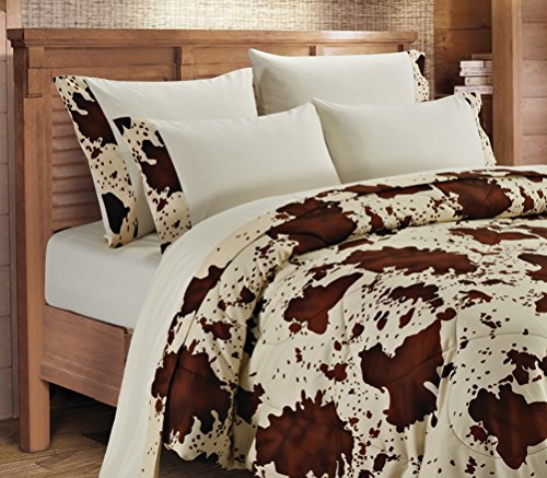 20 Lakes, Super Soft Microfiber 6 Piece Rodeo Cow Print Sheet & Pillowcase Set (Full, Cream) (Western Bedding Full compare prices)