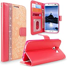 S7 Edge Case, Galaxy S7 Edge Case, Cellularvilla [Diamond Jewel] Embossed Flower Design Premium Pu Leather Wallet Case [Card Slots] Folio Flip Cover For Samsung Galaxy S7 Edge (Peach Pink Bling)