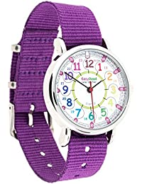 Childrens Watch, 12 & 24 Hour Time, Rainbow Colors, Purple Strap