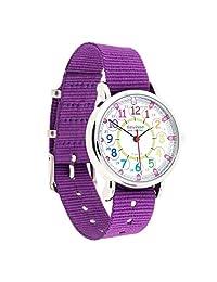 EasyRead Time Teacher Children's Watch, 12 & 24 Hour Time, Rainbow Colours/Purple Strap
