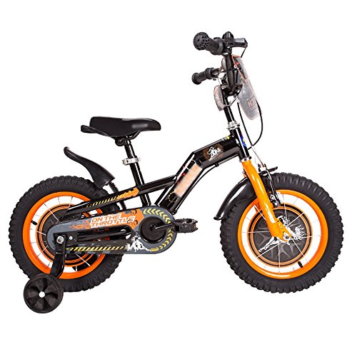 Kids Bicycles MEIDUO Children's bicycle Baby bike Boy and girl baby carriage 16/14/12/18 inch 2.4 inch mountain tire Wear-resistant damping (Color : Black orange, Size : 12 inch)