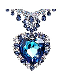 LE PAPILLION Pendant Necklace for Women, Made with Swaroski Crystal, Blue Heart Shape