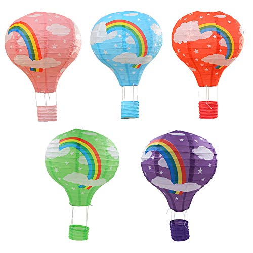 SpringPear 5X 10 Inch Foldable Paper Lantern Set DIY Hot Air Balloon for Wedding Birthday Christmas Halloween Party Deco (5 PCs Pink Green Blue Red Purple) -