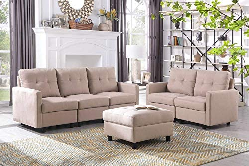 DAZONE Modular Sectional Sofa Assemble 6-Piece Modular Sectional Sofas Bundle Set Cushions