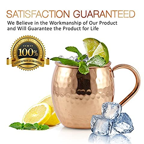 Mule Science Moscow Mule Copper Mugs – Set of 2-100% HANDCRAFTED – Pure Solid Copper Mugs 16 oz Gift Set with BONUS: Highest Quality Cocktail Copper Straws, Shot glass and 2 coasters!